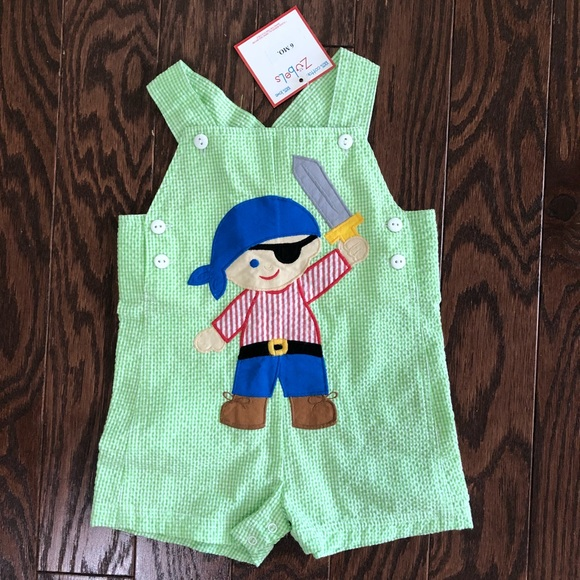 NWT BOY SUMMER SEERSUCKER PLAID OVERALLS WITH BACK POCKETS BOUTIQUE